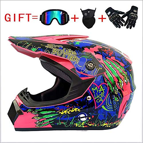 Sunzy Casco ATV de Motocross, Casco anticolisión de Cuatro Temporadas, Desmontable, para Hombres y Mujeres, de Cara Completa, para Enviar Gafas/máscara/certificación Dot,XL