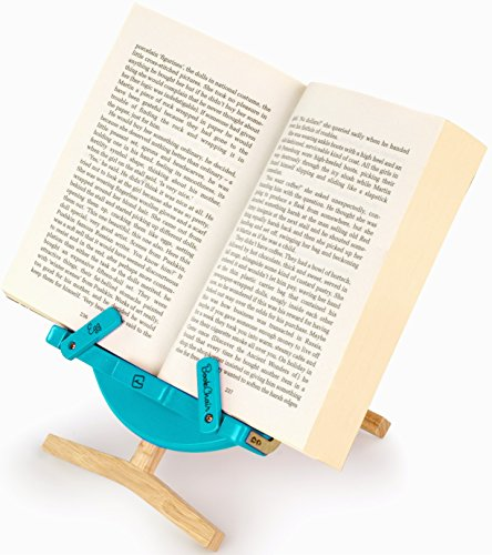 Book Stand ★ iPad Tablet Holder ★ Wooden Cookbook and Recipe Bookstand ★ Adjustable Reading Rest ★ Great for the Bed, Kitchen or Office ★ Perfect for Christmas ★ Blue
