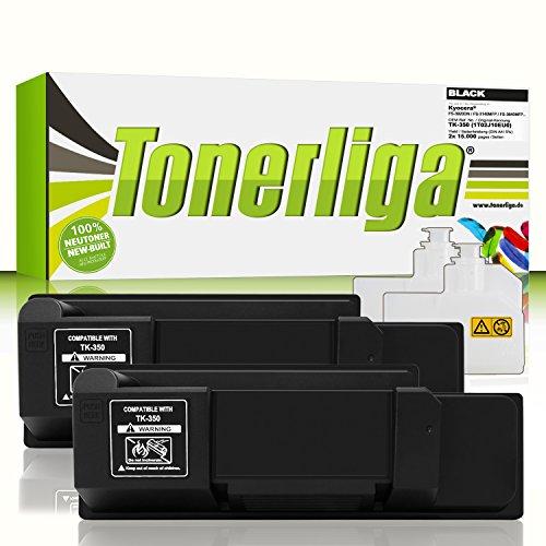 Preisvergleich Produktbild 2x TK-350 Toner kompatibel f. Kyocera FS-3920dn / FS-3140mfp / FS-3640mfp / FS-3540mfp / FS-3040mfp - 100% fabrikneue Ware - inkl. 2x Resttonerbehälter