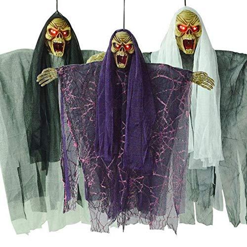1 PC Halloween Prop Elektrische Stimme Hängen Schädel Skelett Geist Hängen Halloween Flucht Horror Requisiten Hängen dekor A10 (Elektrische Halloween Requisiten)