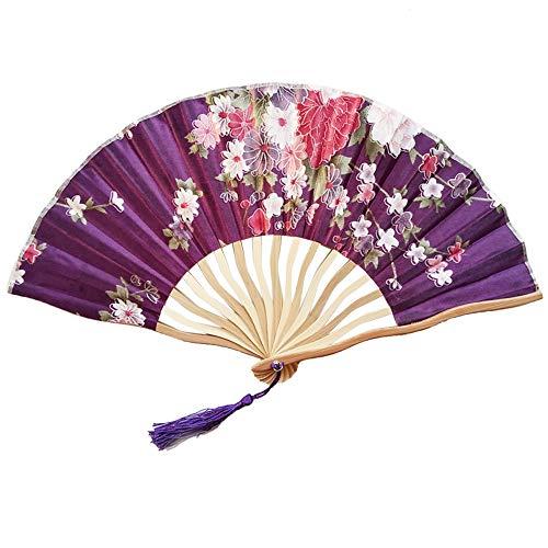 YEARNLY Damen Handfächer, Beige Folding Bambus Fans Hand Halten Fans chinesischer Seiden Handfächer für Wanddekoration, Geschenke, Hochzeitsfeie
