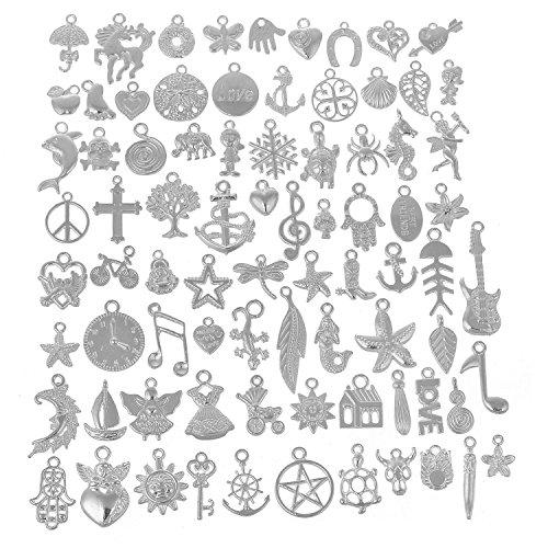(rubyca Großhandel von tibetischen weiß versilbert Metall Mix Anhänger Charms Armband Schmuckherstellung, metall, Mix 5, 160 PCS)