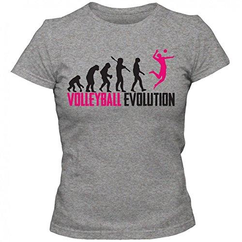 Volleyball Evolution #1 T-Shirt | Beachvolleyball | Teamsport | Teamplayer | Frauen | Shirt, Farbe:Graumeliert (Grey Melange L191);Größe:L