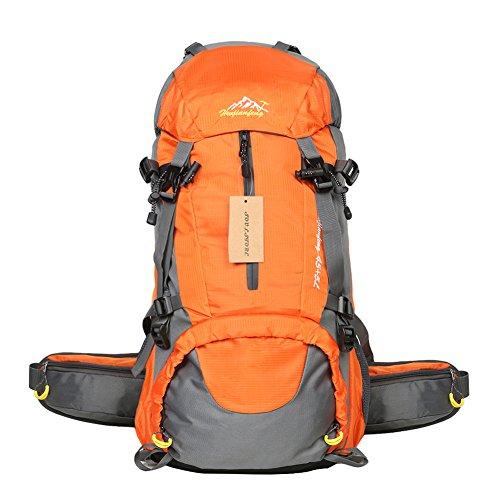 50L Wasserdicht geräumige leicht outdoor Sport Rucksack, atmungsaktiv Casual Tagesrucksack Gepäck Laptop Tasche, Unisex Casual klappbar, verstaubarer Rucksack zu Pendler, vielseitig stabiler Rucksack für Exploring Reisen Backpacker (mit Regenschutz), orange