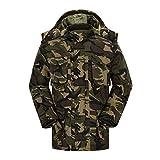 Amphia Herren-Camouflage-Mantel mit Kapuze für Herren Daunenjacke - Mens Winter Camouflage Wolle Bluse Verdickung Mantel Pullover Outwear Top Bluse(Armeegrün,XXL)