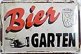 Blechschild 20x30cm - Biergarten Bier Vintage Hinweisschild Schild