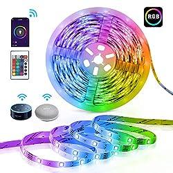 LED Strip Beleuchtung, TECKIN Alexa LED Strip Lichtband,5M RGB Smart WiFi LED Streifen,kompatibel mit Alexa, Google Assistant für Haus, Küche, TV, Party (Nicht unterstützt 5G WiFi)[Energieklasse A+]