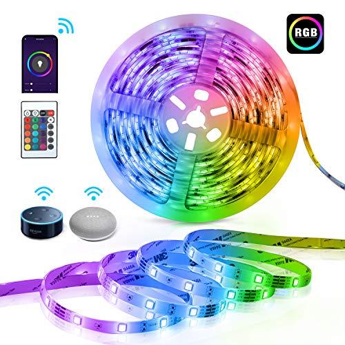 LED Strip,TECKIN Smart LED Streifen,5M RGB LED Strip Lichtband,kompatibel mit Alexa,Google Assistant für Haus, Küche, TV, Party (Nicht unterstützt 5G WiFi)[Energieklasse A+]