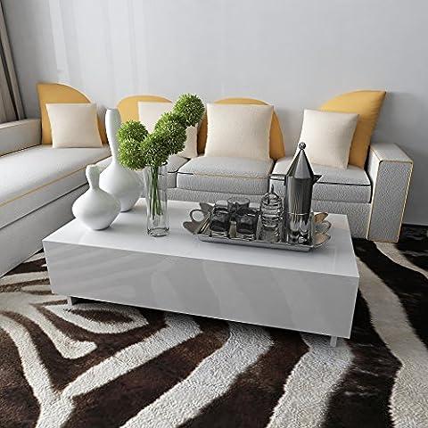 Anaelle Pandamoto Table Basse en MDF Rectangulaire Moderne sur Salon, Bureau et Chambre, Taille: 115 x 55 x 31 cm, Poids: 20kg, Blanc
