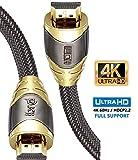 Câble HDMI 4K 1,5m - HDMI 2.0b 4K@60Hz Haute Vitesse par Ethernet en Nylon Tressé Supporte 3D/Retour Audio - IBRA Luxury