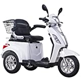3 Wheeled Electric Mobility Scooter Tricycle Recreational 500W 8 mph/16 mph (White)