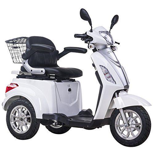 3 Rad Elektromobil Dreirad Elektroroller Seniorenmobil Elektrorollstuhl EU-Zulassung 25km/h 500W Weiß