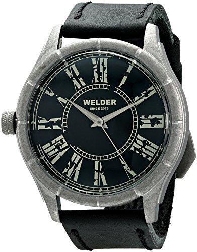 Welder 505 - Reloj de cuarzo unisex, correa de cuero color negro
