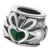 Antik 925Sterling Silber Emaille Claddagh Ring Bead Passt Für Europäische Charm-Armbänder