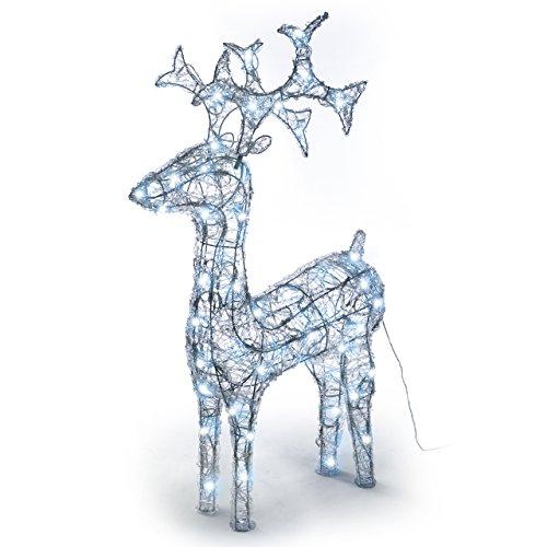 Rentier beleuchtet Acryl 120 LED Weihnachtsbeleuchtung Weihnachten Deko Figur 100 cm weiß - 4