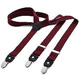DonDon® Herren Hosenträger schmal 2,5 cm – 3 Clips in Y-Form – elastisch und längenverstellbar dunkelrot
