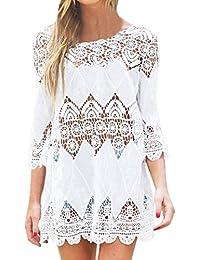JXLOULAN Plain White bohemia de las mujeres ganchillo playa de la túnica de la playa vestido Kaftan