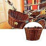 PROKTH Fahrradkorb Traditional Wicker Fahrradkorb Fahrrad Frontlenker Pet Carrier mit Ledergurten