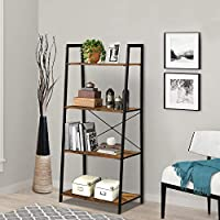 LENTIA 4-Tier Storage Shelves Ladder Bookshelf Industrial Bookcase Shelving Unit Plant Stand with Metal Frame 55 * 32.5 * 120cm(4 Tiers, Rustic Brown)