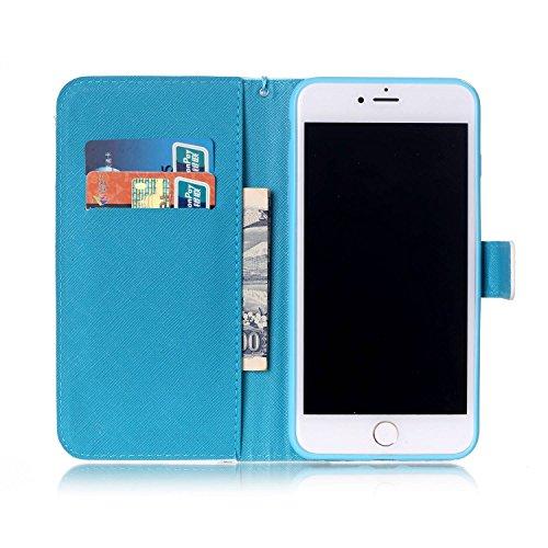 "Ooboom® iPhone 7 4.7"" Hülle Flip PU Leder Schutzhülle Handy Tasche Case Cover Wallet Standfunktion mit Kartenfächer Trageschlaufe - Eule Eule"