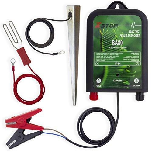 X-Stop Électrificateur pour clôture électrique, batterie 12 V, portée 10 km, 0.2 joules, CE RoHS