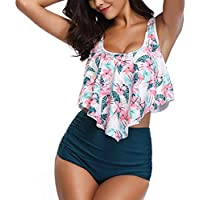 Femme Bikini Ensembles,Binggong Mode avec Couleur Imprimer Top + Slip Tankinis Fleur Grande Taille Push Up Maillots De Bain Maillot De Bain Slip Grande Taille S-3XL