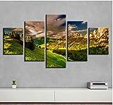 """SBZJJ Cinque Pannelli Pittura Decorativa Pittura Multi-Stampa Montagna Picco Scenario Divano Casa Tela Pittura Pittura Artigianale -150X80Cm(59.0"""" X31.92"""")"""