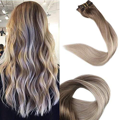 Full Shine 14 Zoll 10Pcs 100g/Set Clip Auf Verlängerungen Brasilianischer Mensch Farbe # 8 Fading to # 60 und # 18 Dark Blonde Best Rated Clip in Haarverlängerungen (Volle Spitze Menschliches Haar Verlängerung)