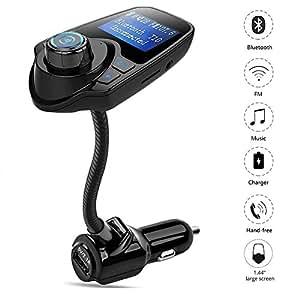 [Bluetooth Auto FM Transmitter] Teckey® T10 Wireless Bluetooth Transmitter FM Radio Bluetooth Car Adapter KFZ Freisprechen automatisch Verbindung MP3-Player mit USB( 5 V/2.1 A) Ladeanschluss 1.44 Inch Display