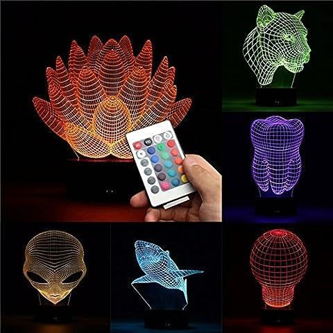 Bazaar 3d cambiando de color LED Lámpara de mesa de escritorio remoto acrílico USB luz de la noche de regalo de Navidad
