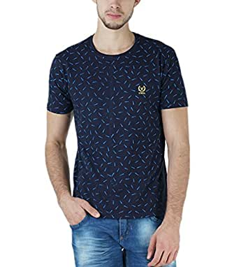 Vimal Men's Cotton Printed Round Neck T-Shirt (Navy, Small)
