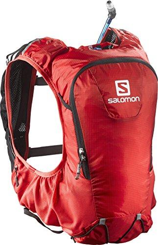 Salomon zaino leggero 10 litri (taglia unica), ideale per l'escursionismo, la corsa o la bici, 40 x 13 x 17cm, skin pro 10 set, rosso/nero, l37996700
