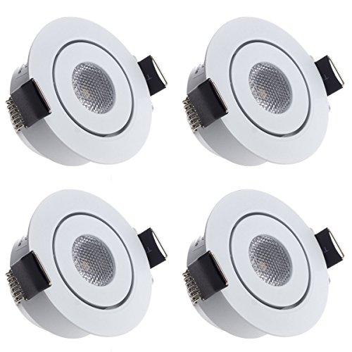Sensati Kleine flache Miniatur LED Einbauleuchte flacher Downlight Spot Set zu 4 Stück, schwenkbar, dimmbar, 840 lm, inklusive Treiber, Gehäusefarbe weiß, kaltweiß T096 4 CW W -