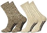Lot de 2 paires de chaussettes norvégiennes en laine - picots antidérapants  - 39-42-Beige et Marron,Beige et Marron,39/42