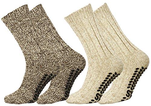 2 Paar Norweger Strick-Socken mit Antirutsch Sohle, Woll Socken (Betten Gefrorene)