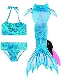 a3fe6aa7234f HiFunBay Ragazze Coda da Sirena con Monopinna per Nuotare Costume da Bagno  Incluso 3/4