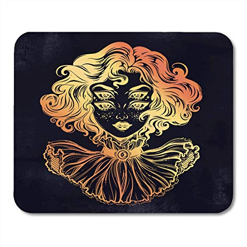 AOHOT Mauspads Gothic Witch Girl Head Portrait Curly Hair and Four Eyes Lady is Ideal Halloween Tattoo Weird Psychedelic Mouse Pad Mats 9.5