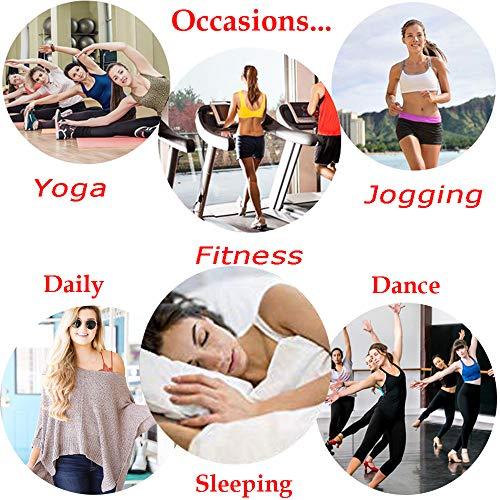 JANSION Damen BH mit seitlicher Schnalle, Spitze und Bralette, abnehmbar, gepolstert, Yoga, Lounge-BH, Bustier, Damen, Beige/Violett, Small - 6