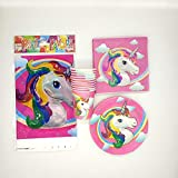 Partymane Unicorn Birthday Decoration 41Pcs Exclusive Combo of Plates,Cups,Napkins and Table Cover