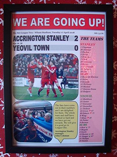 Sports Prints UK Accrington Stanley 2Yeovil Town 0-Stanley gefördert-2018-Kunstdruck, gerahmt -