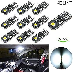 AGLINT Ampoules T10 LED CANBUS 12V Blanc Pas De Polarité Conçu W5W Wedge Intérieur De Voiture Lumière Dôme Feux De Plaque D'immatriculation [Classe énergétique A+++]
