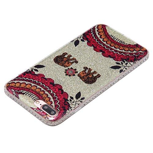 "Handyhülle iPhone 7 Plus 5,5"" Silikon, iPhone 7 Plus(5,5zoll) Glitzer Schutzhülle, Elegant Mandala Serie Weiße Mandala Muster Slim Case für iPhone 7 Plus (5,5zoll), Edaroo Sparkle Bling Diamond Weiche Elefant Mandala"