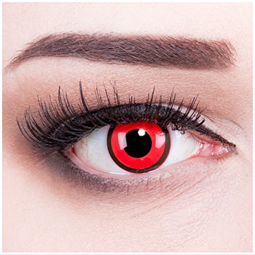 Jahr Diesem Besten Halloween In Kostüme Die (Funnylens 1 Paar farbige rote schwarze Crazy Fun black red Jahres Kontaktlinsen.Topqualität zu Halloween und Karneval mit gratis Kontaktlinsenbehälter ohne)