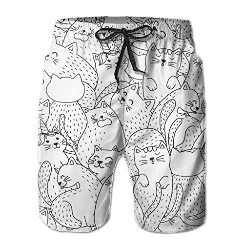 DPASIi Men's Swim Trunks Funny Cats Black and White Seamless Pattern Surfing Beach Board Shorts Swimwear Medium -