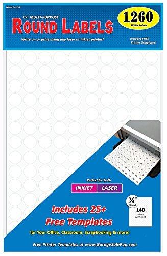 ¾ Zoll Dot Runde Etiketten, 81/5,1x 27,9cm Tabelle, passend für alle Laser-/Tintenstrahldrucker 1260 Pack weiß - 1260 Laser