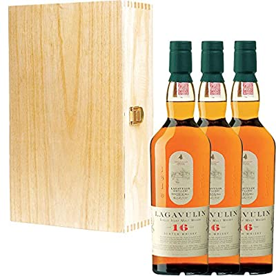 3 x Lagavulin 16 Year Old Single Malt Scotch Whisky in Tung Wood Gift Box With Handcrafted Gifts2Drink Tag