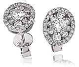 1, 25CT certificado g/VS2 corte brillante redondo forma de la flor con Halo de diamantes y pendientes del perno prisionero en 18 K oro blanco