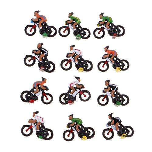 B Blesiya Lot de 12pcs Cycliste Modèle en Plastique Accessoires pour Décoration Paysage Micro Echelle Ho 1/87