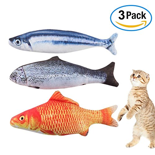 Katzenminze Katzenspielzeug, Simulation Fisch Katze Interaktives Spielzeug, 3 Stück Kitten Katzenminze Kissen Kauen Plüsch Pet Spielzeug mit Catnip für Indoor Katzen