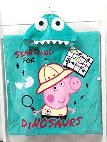 sanjinshangmao Especial Pep Pig Kids Toalla de baño Capa de Toalla de Playa Peggy George Dinosaurio Toalla de Cuatro Colores Dinosaurio estereoscópico